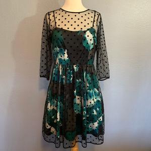 Eliza J. Illusion Dot Lace Overlay Fit Flare Dress